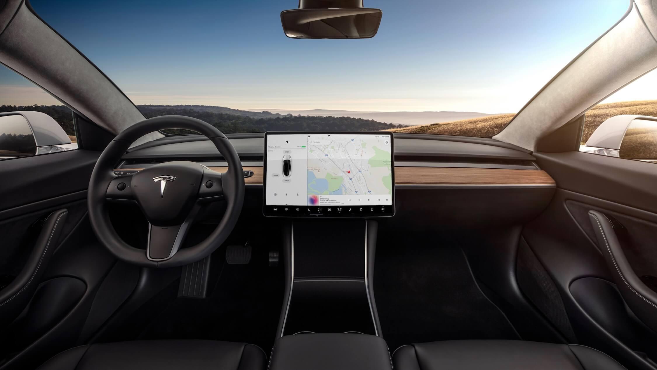 Tesla Model 3 standaard zwart interieur