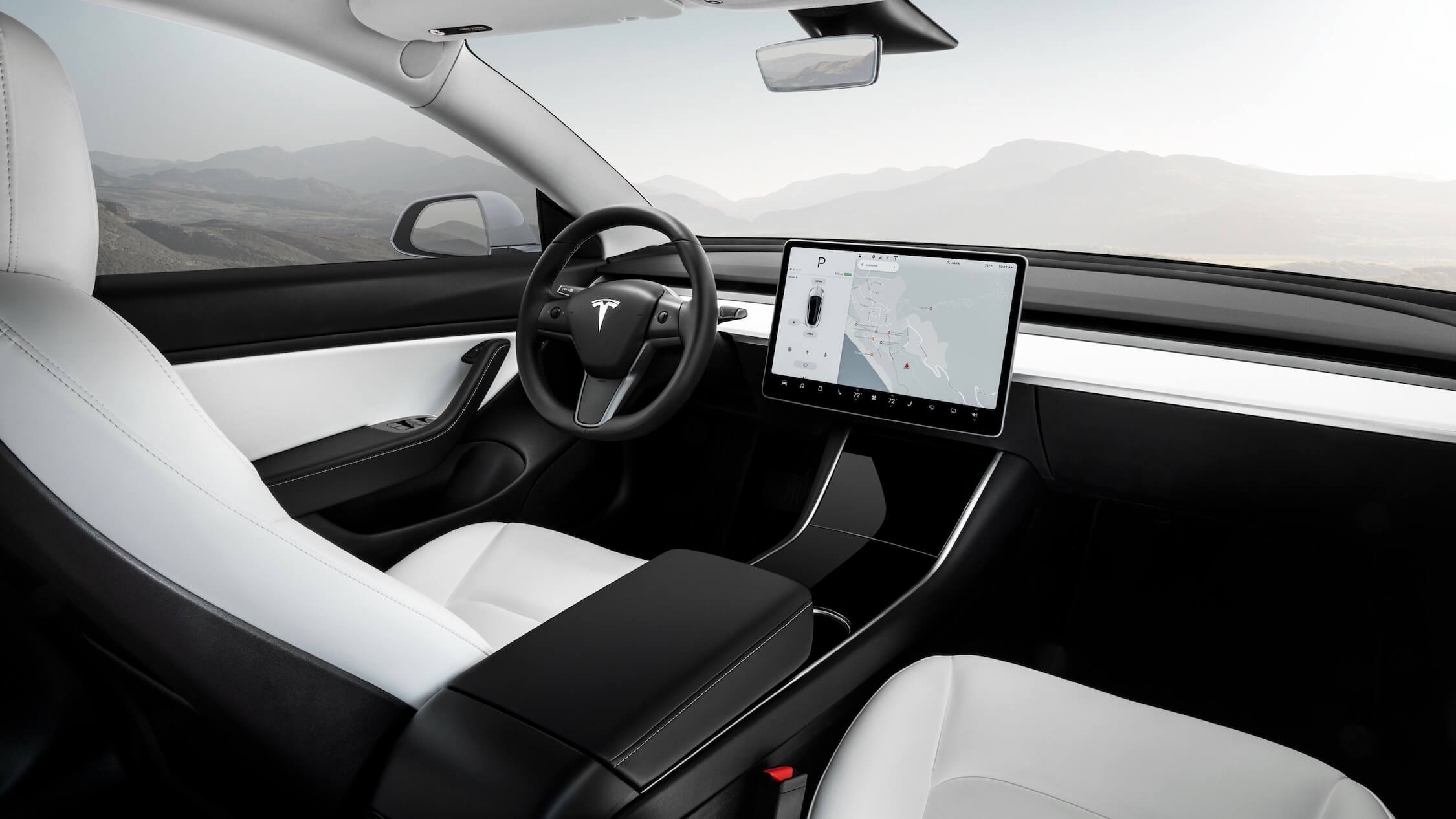 Tesla Model 3 wit interieur zetels