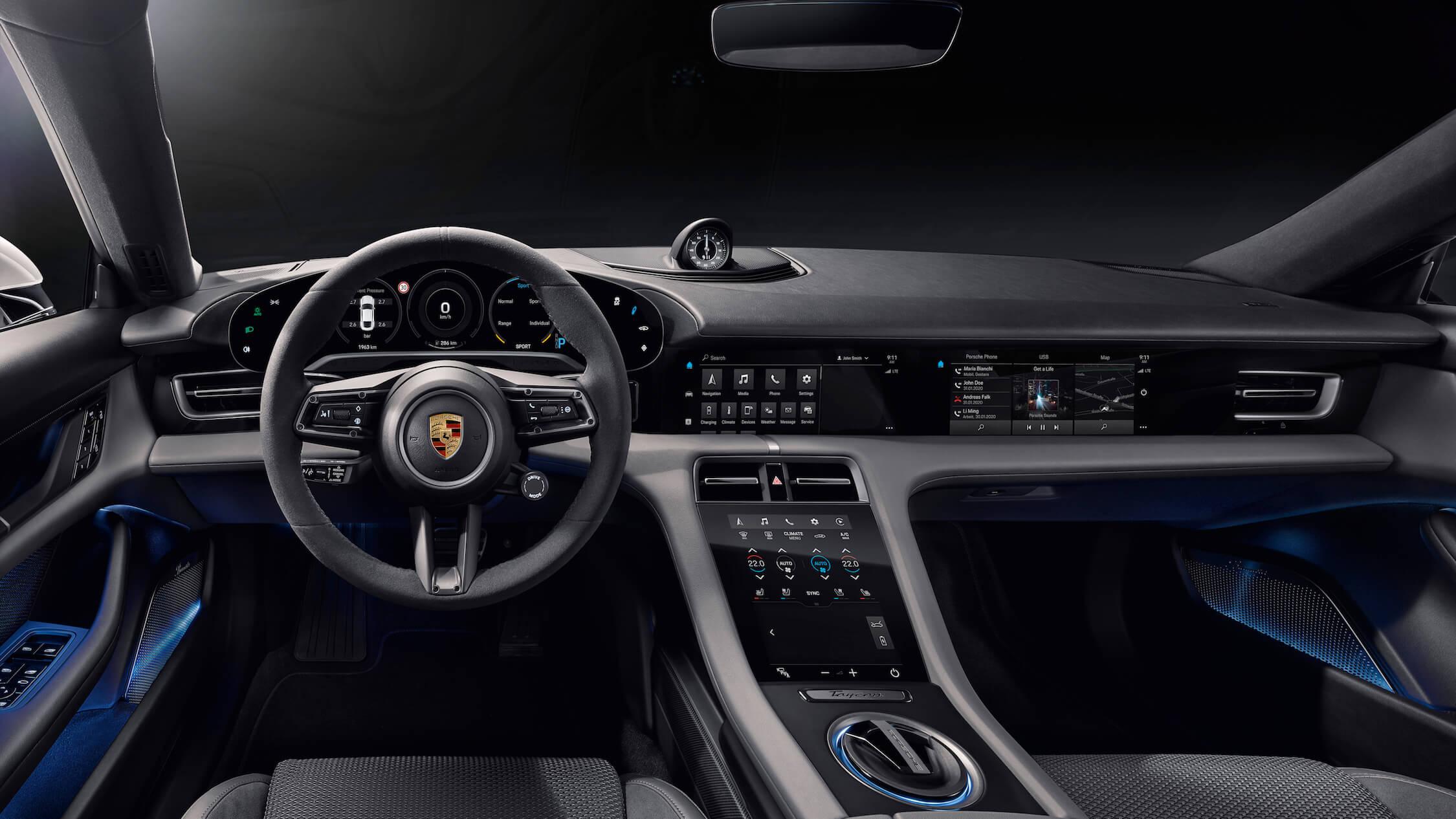 elektrische Porsche Taycan interieur
