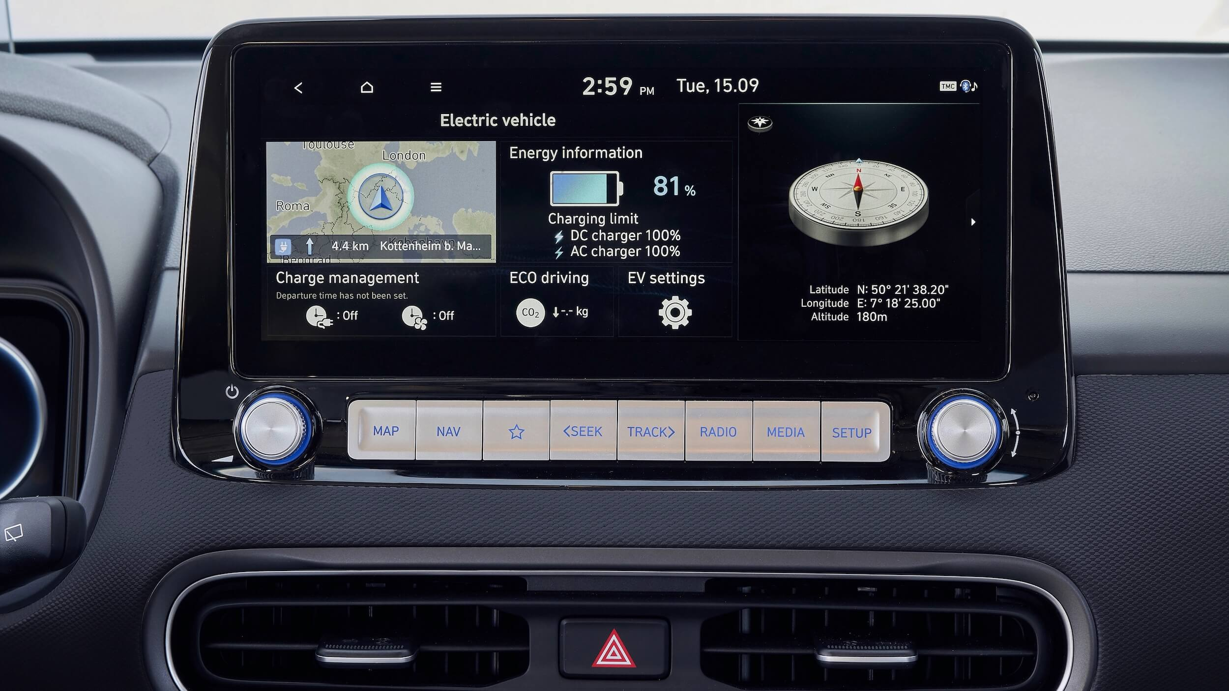 Hyundai Kona EV infotainment scherm