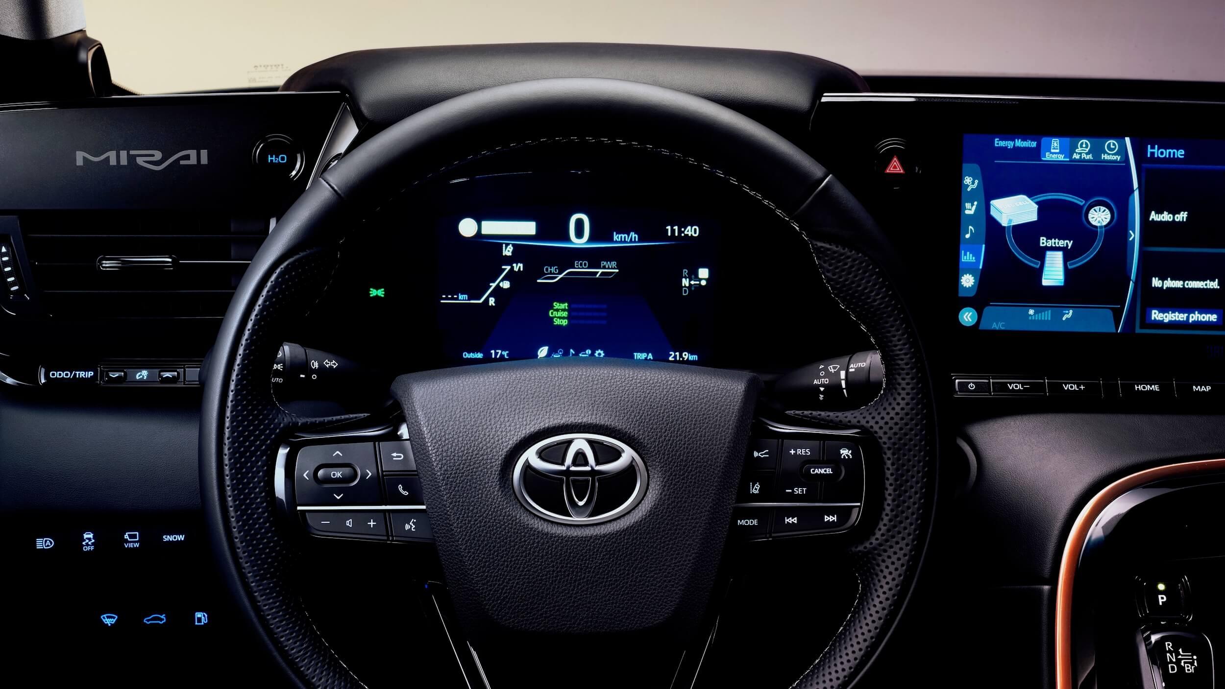 Nieuwe Toyota Mirai stuurwiel
