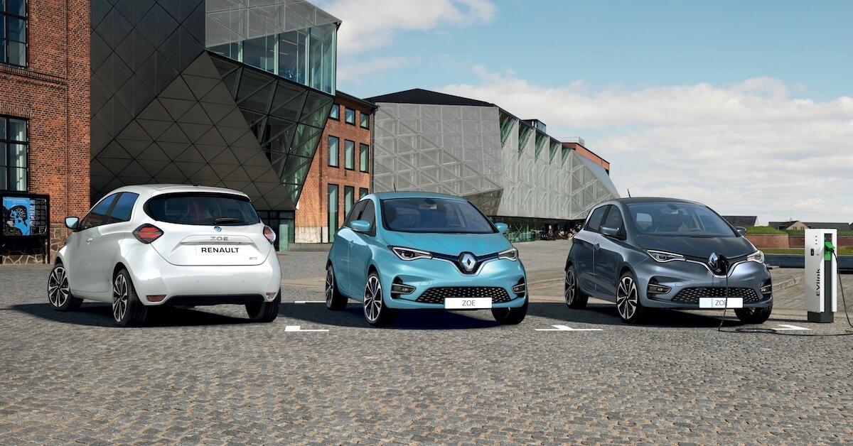 Drie Renault ZOE wit blauw grijs